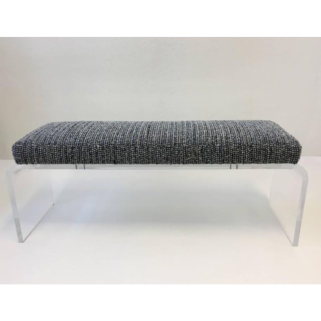 1980s Acrylic and Fabric Waterfall Bench - Image 2 of 10