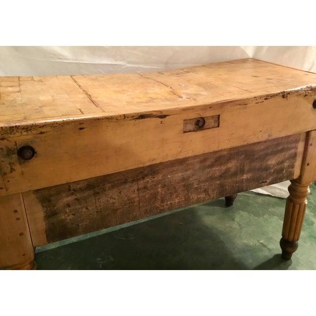 19th C. French Carved Butcher Block Table For Sale - Image 4 of 13