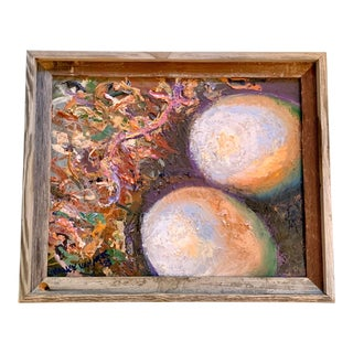 """""""Twin Nest"""" Contemporary Abstract Oil Painting, Framed For Sale"""