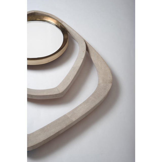 R & Y Augousti Matrix Mirror in Cream Shagreen and Bronze-Patina Brass by R&y Augousti For Sale - Image 4 of 6
