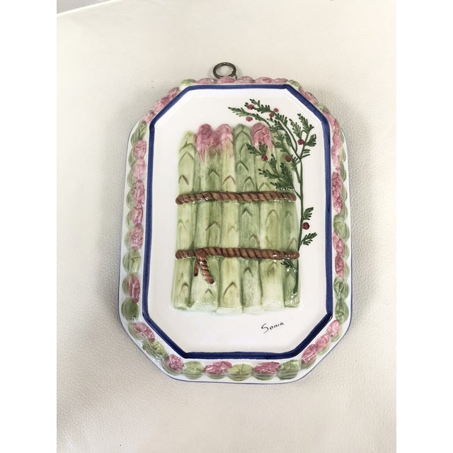 Majolica Porcelain Asparagus Wall Hanging For Sale - Image 9 of 9