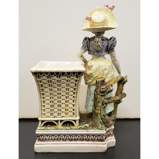 Late 19th Century French Majolica Porcelain Victorian Woman Matchstick Holder For Sale - Image 4 of 8