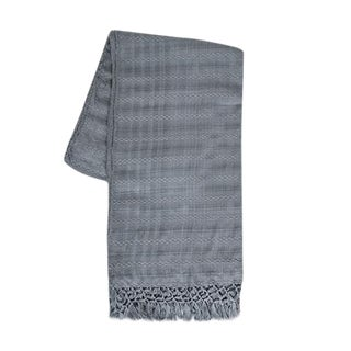 Dark Gray Silk and Cotton Throw For Sale
