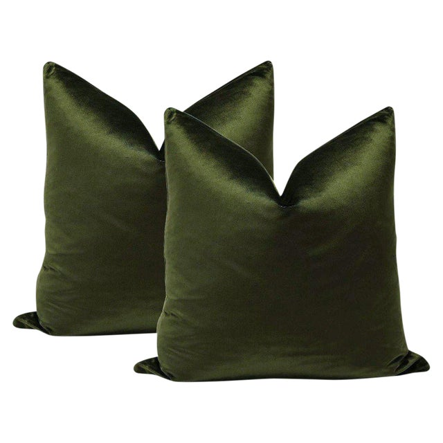 "22"" Italian Silk Velvet Pillows in Olive - a Pair For Sale"