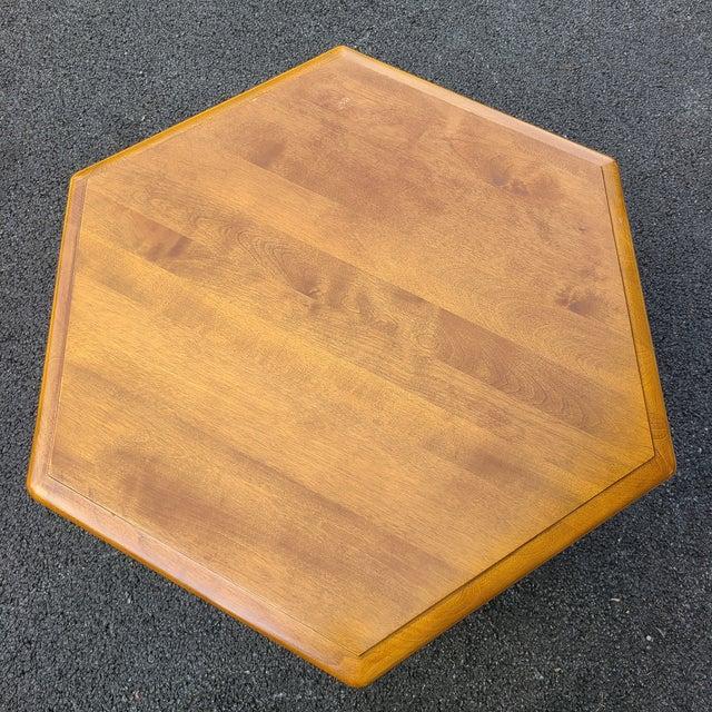 Farmhouse Ethan Allen Heirloom Nutmeg Maple Hexagonal Storage Table For Sale - Image 3 of 13