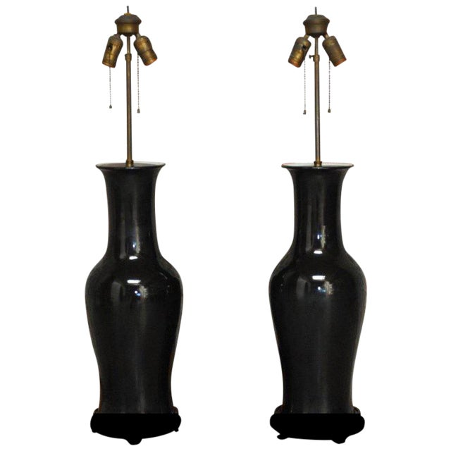 Chinese Black Noir Porcelain Vase Table Lamps - A Pair For Sale
