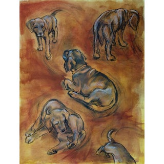 Dog Art Puppy Sketches, Contemporary Drawing by Kathleen Ney For Sale