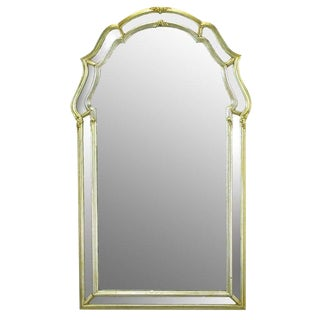 LaBarge Italian Regency Double Frame Aged Silver Leaf Mirror For Sale