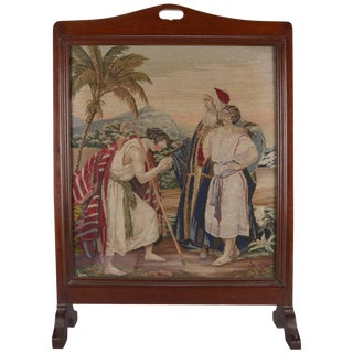 Mahogany Pictorial Needlepoint Fire Screen, Biblical Jacob & Leah, Circa 1890 For Sale