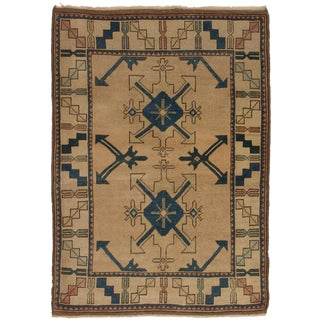 Turkish Vintage Rustic Beige and Navy Handmade Wool Rug - 4′4″ × 9′1″ For Sale