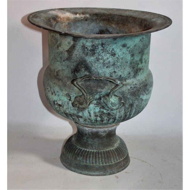 Late 19th Century 19th Century Patinated Copper Urn With Handles For Sale - Image 5 of 7