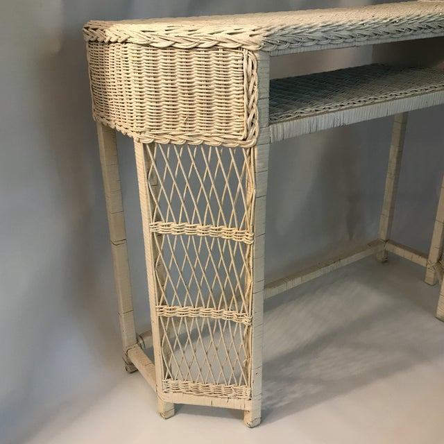 Boho Chic White Wicker Console or Dressing Table For Sale - Image 3 of 13