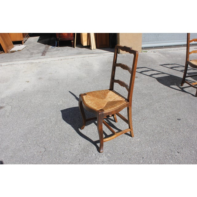 Early 20th C. Vintage French Country Rush Seat Walnut Dining Chairs - Set of 8 For Sale - Image 12 of 13