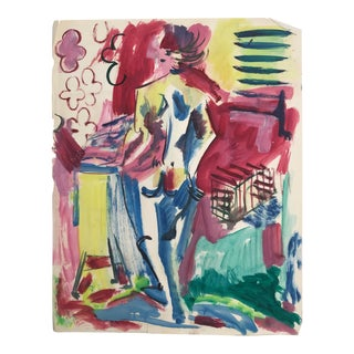 1950s Vintage Robert Colborne Abstract Female Figure Painting For Sale