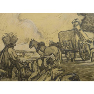 Jean Baptiste Grancher, French Pencil Drawing - the Hay Harvest For Sale