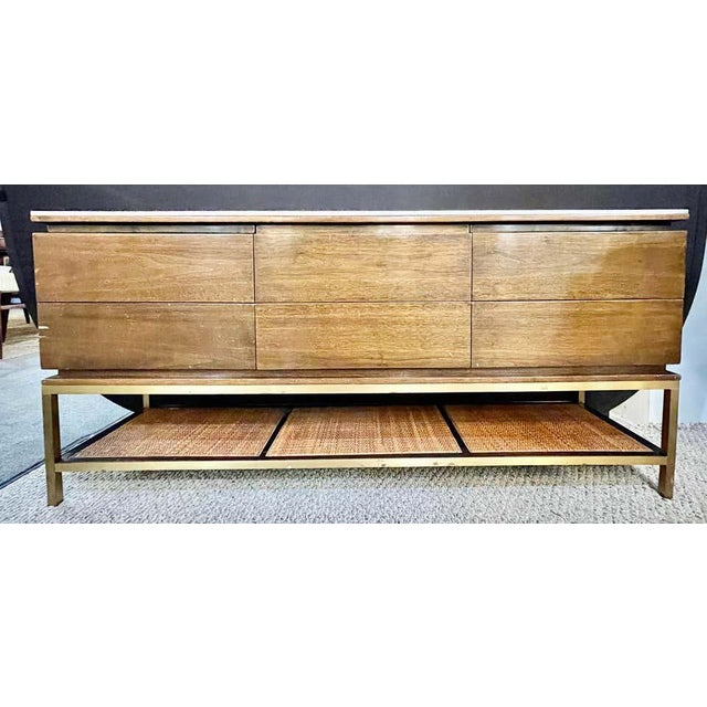 Mid-Century Modern Mid-Century Modern McCobb Cabinet With Glass Top Brass Frame and Caning For Sale - Image 3 of 13