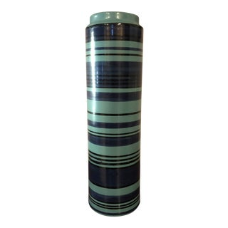 Final Price! 20th Century Contemporary Raymor Striped Blue Vase For Sale