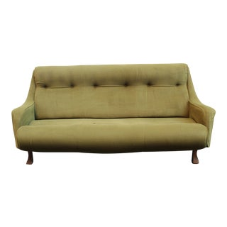 1930s Art Deco Italian Green Sofa For Sale