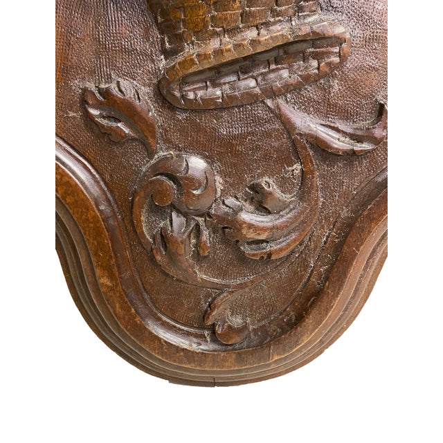 19th Century English Antique Carved Plaque With Fruit Basket For Sale - Image 5 of 7