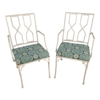 Chippendale Style Iron Chairs, a Pair For Sale