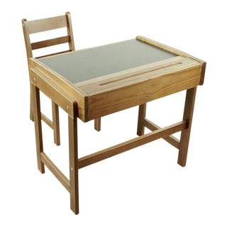 Contemporary Children's Wood Desk and Chair Set