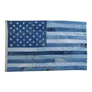 "Custom Ralph Lauren Style Denim Patchwork American Flag Art Throw 58"" X 36"""