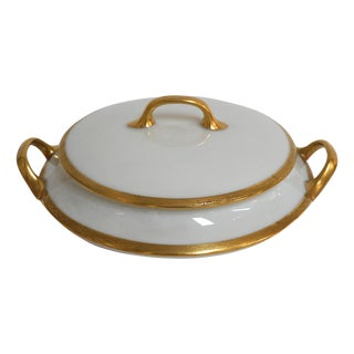 Limoges Gold Rimmed Greek Key Tureen by Old Abbey For Sale