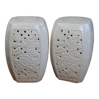 Contemporary Chinese White Porcelain Garden Stools With Rose Design- a Pair For Sale