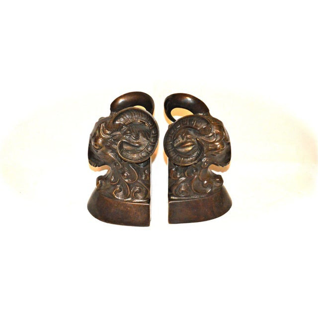 Vintage Bronze Ram Bookends - A Pair - Image 10 of 11