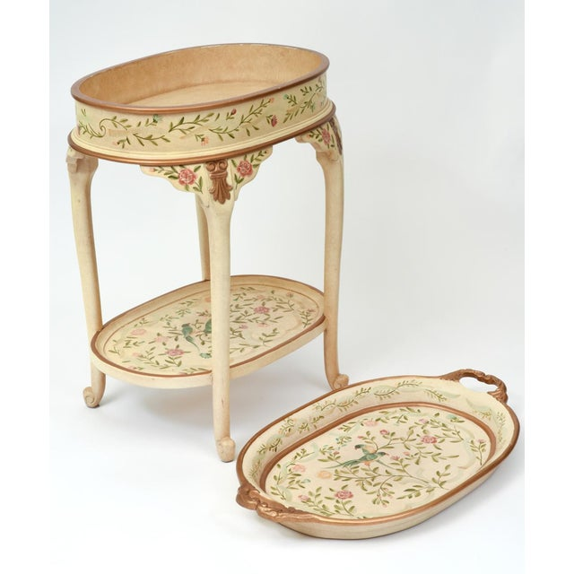 Vintage Wood Hand Painted Serving / Side Tray Table For Sale In New York - Image 6 of 13