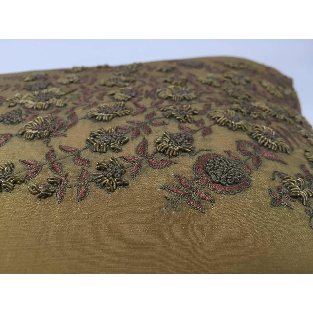 Anglo-Indian Mid Century Silk Throw Pillow Embroidered With Raised Metallic Embroidery For Sale - Image 3 of 9