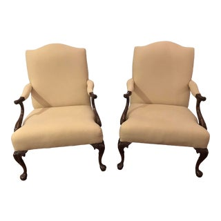 1980s Vintage Traditional Upholstered Arm Chairs- A Pair For Sale