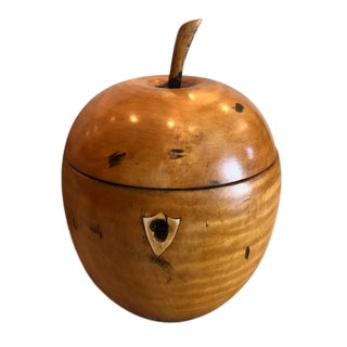 English 19th Century Vintage Carved Wood Apple Form Tea Caddy For Sale
