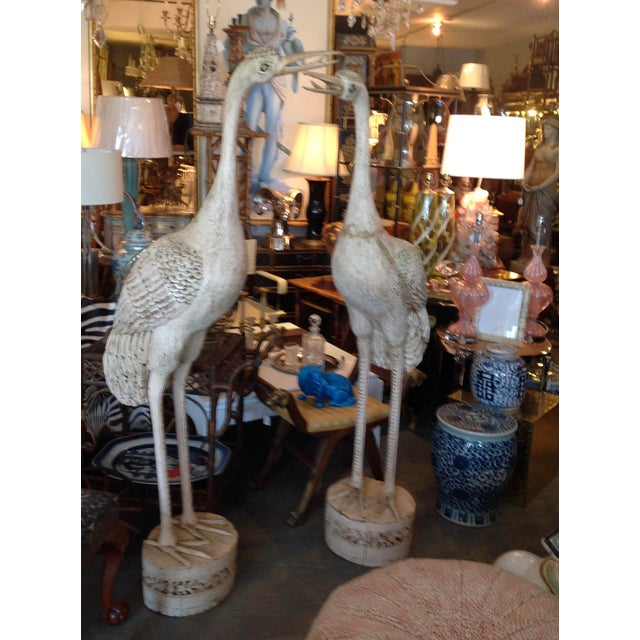 Grandly Scaled Pair of Vintage Carved Cranes For Sale - Image 4 of 14