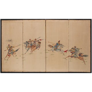 19th Century Battle Between Chinese & Mongol Warriors Screen For Sale