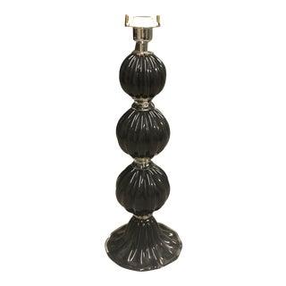 Italian Black Modernist Hand Blown Glass Table Lamp For Sale