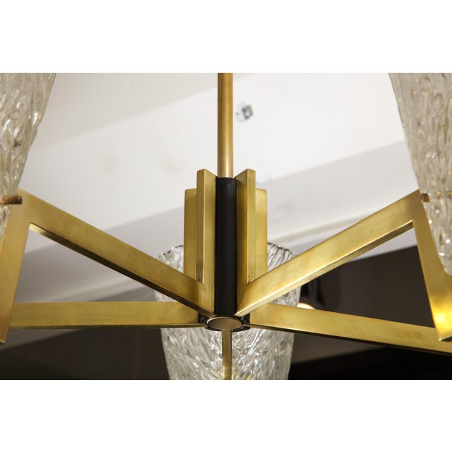 Metal Sculptural Brass and Glass Six-Arm Hanging Light Fixture For Sale - Image 7 of 9