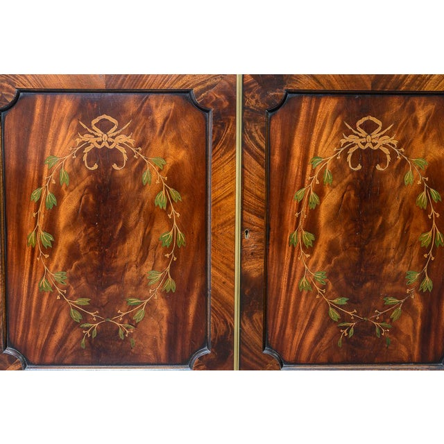 Regency Style Pair of Inlaid Wood Cabinets With Blown Glass Doors For Sale - Image 10 of 13