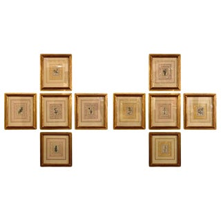 Ten Copperplate Engravings in Gilt Frames by Benjamin Maund, Judy Cormier Framed For Sale