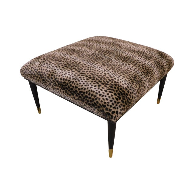 Mid Century Modern Square Cheetah Print Ottoman For Sale