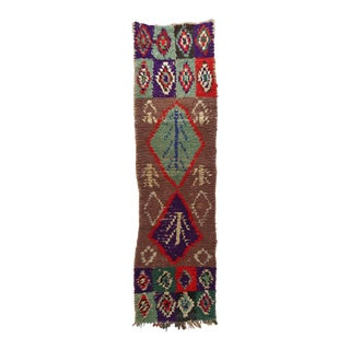 "Moroccan Boucherouite Runner Rug - 1'9"" X 6'9.5"" For Sale"