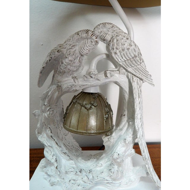Contemporary Parakeet Lamp in White Lacquer With Multiple Setting Lights With Silver Shade For Sale - Image 3 of 11