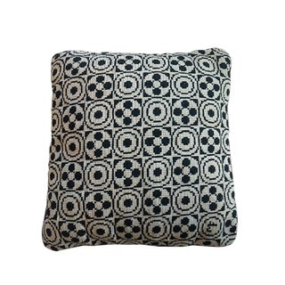 Boho Chic Black and Cream Needlepoint Pillow For Sale