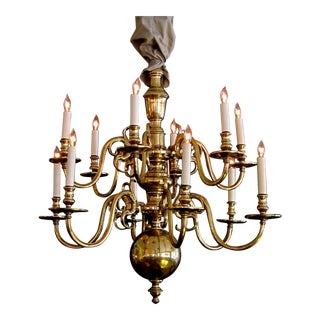 A Large-Scaled and Good Quality Dutch Colonial Brass 2-Tier 12-Light Chandelier For Sale