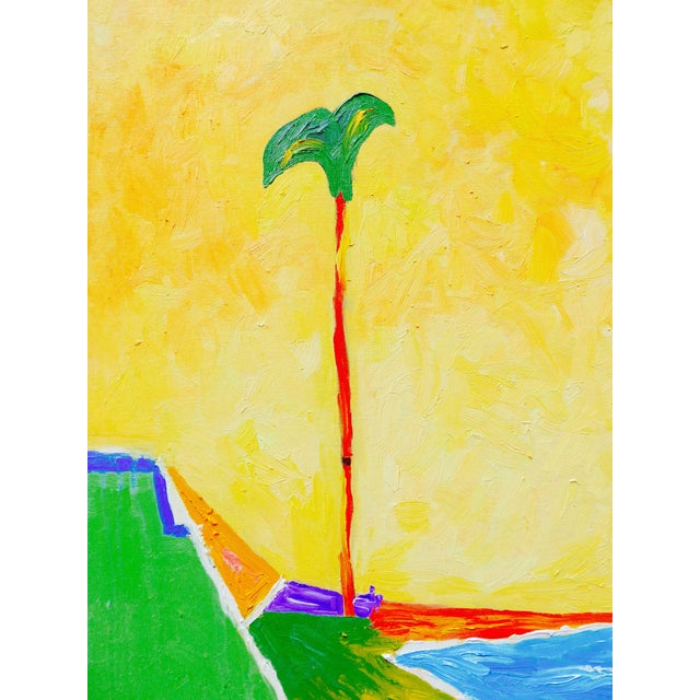 Contemporary plein air oil painting of a palm tree in the breeze on a California beach. Soft glowing colors are very...