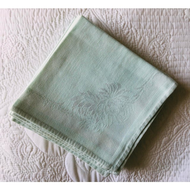 American 1940s Mint Green Damask Napkins - Set of 8 For Sale - Image 3 of 4