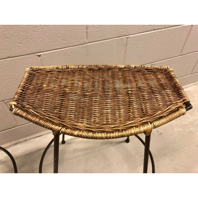 1970s 1970's Arthur Umanoff Wrought Iron & Wicker Stools - a Pair For Sale - Image 5 of 11