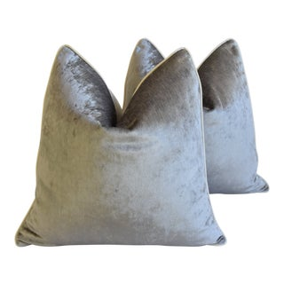 "Silver Italian Scalamandre Velvet Feather/Down Pillows 24"" Square - Pair For Sale"