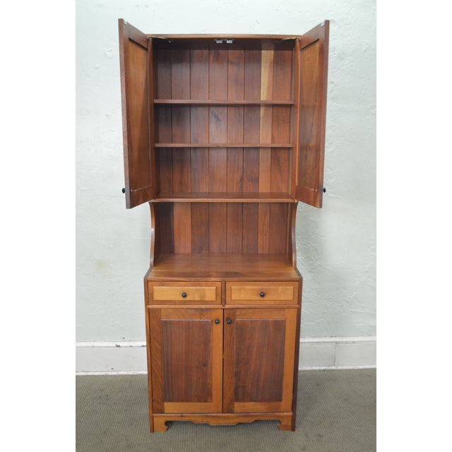 Mid Century Studio Crafted Solid Walnut Step Back Cupboard Cabinet W/ Drawers - Image 2 of 10