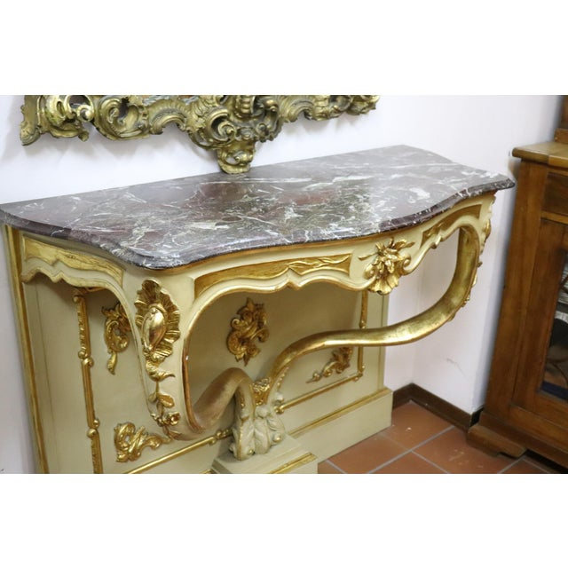 Lacquer 19th Century Italian Golden and Lacquered Wood Console Table With Marble Top For Sale - Image 7 of 11